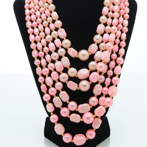 6 Strand Bright Pink Bead Necklace